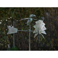 Windmill garden lighter with bird