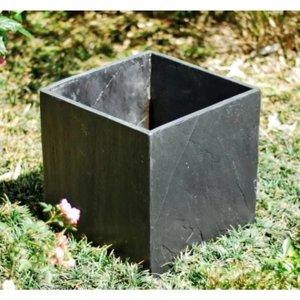 Square black slate planter