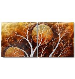 Painting aluminum diptych Orange 60x120cm