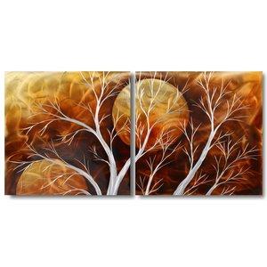 Orange aluminum diptych painting SUN 60x120cm