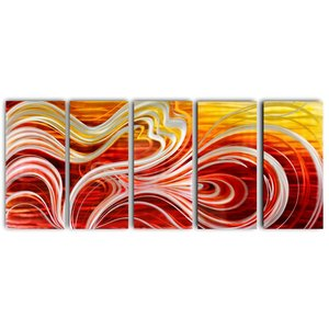 Painting aluminum five-panel Abstract 80x200cm