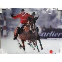 Glasmalerei Polospieler Solo 60x80cm