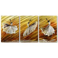 Bemalung Aluminium Triptychon Ballerina 60x120cm