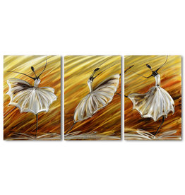 Schilderij aluminium  drieluik Ballerina 60x120cm