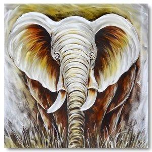 Malerei Aluminium Elefantenkopf 100x100cm