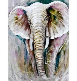 Bemalung Aluminium Diptychon Elefant 120x160cm