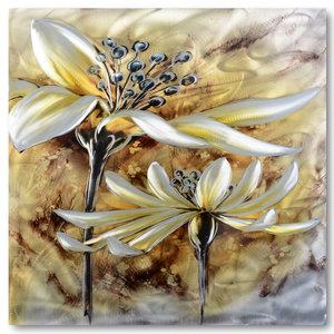 Malerei Aluminium Reife Blume 80x80cm