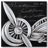 Aluminium Malerei Flugzeug 80x80cm