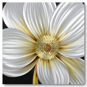 Painting aluminum White anemone 100x100cm