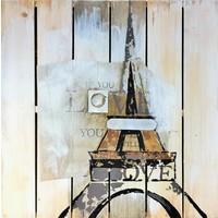 Öl auf Holz Gemälde Eiffel 60x60cm