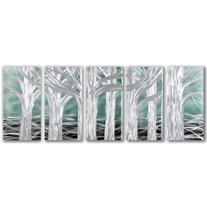 Painting aluminum five-paneled Trees 60x150cm