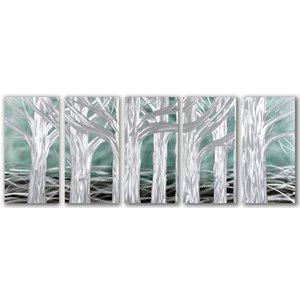 Schilderij aluminium  vijfluik   Bomen 60x150cm