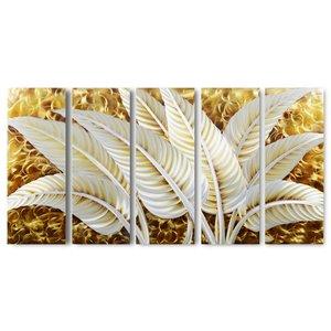 Schilderij aluminium  vijfluik Bladeren  80x150cm