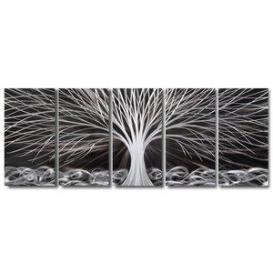 Malerei Aluminium fünfteiliger Fantasiebaum 60x150cm
