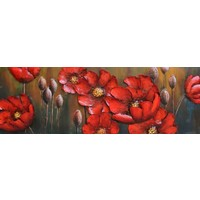 Metal painting Red flowers 50x150cm