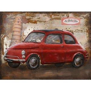 Eliassen Metaal schilderij Fiat 500 60x80cm