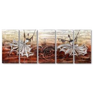 Schilderij aluminium  vijfluik  Danseressen   60x150cm