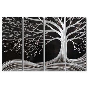 Lackierung Aluminium 4-Panel Baum schwarz 120x80cm
