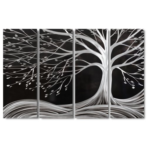 Painting aluminum four-panel tree black 120x80cm
