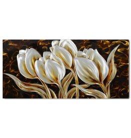 Painting aluminum tulips 60x120cm