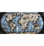 Eliassen 3D Malerei Metall 200x100cm Weltkarte doppelt ausgeführt