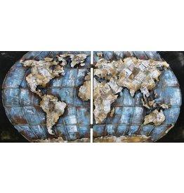 Eliassen 3D schilderij metaal 200x100cm Wereldkaart dubbel uitgevoerd
