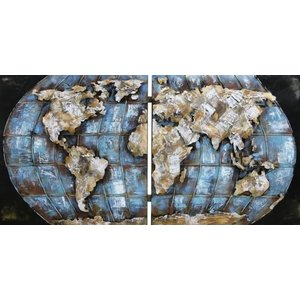 Eliassen 3D painting metal 200x100cm World map double executed