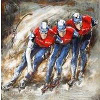 Metalen 3d schilderij Marathon schaatsers 100x100cm