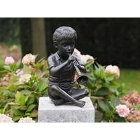 Bronzen beeld jongen met fluit