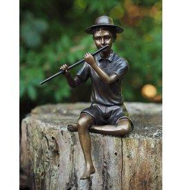 Eliassen Bronzeskulpturjunge mit Flöte
