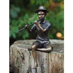 Eliassen Bronze sculpture boy with flute