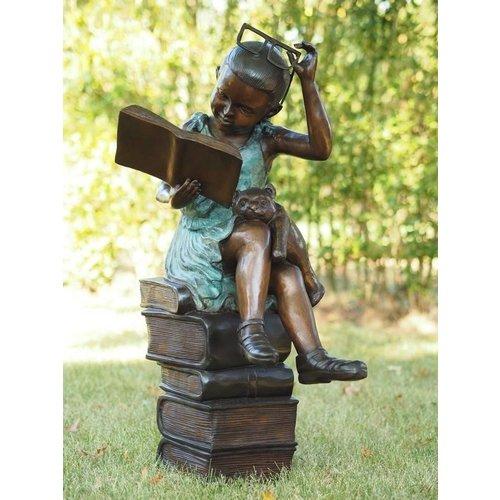 Eliassen Bronzen beeld lezend meisje met bril