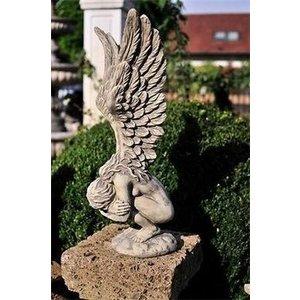 Eliassen Garden statue angel bent over small