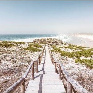 Ter Halle Glasschilderij strand pad 100x100cm