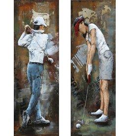 Schilderij metalen tweeluik Golfers