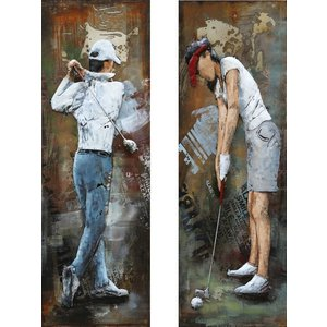 Painting metal diptych Golfers