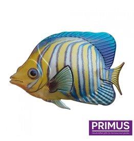 Metalen vis geel-blauw