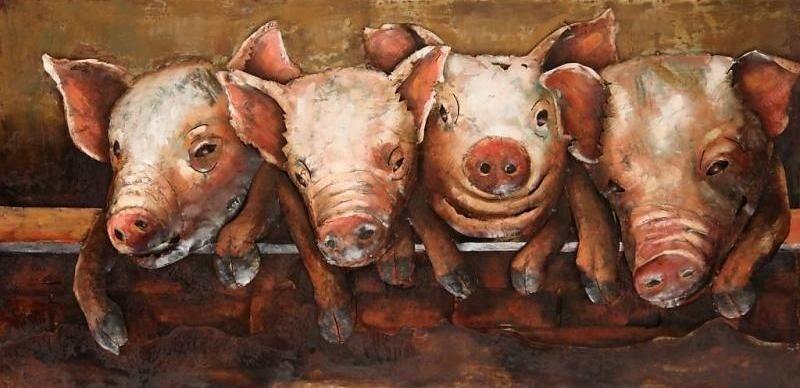3D Malerei Metall 60x120cm Schweine