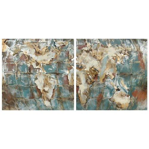 Eliassen 3D schilderij metaal 90x90cm Globe dubbel uitgevoerd