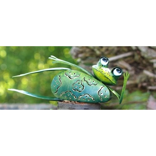 Metal lying frog with tealight holder 30 cm