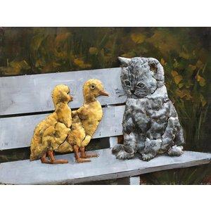Eliassen Schilderij 3d 60x80cm Poes bij kuikens