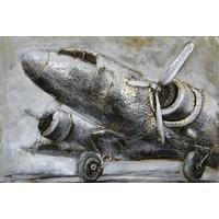 3D-Malerei Metall 120x80x7cm Flugzeug