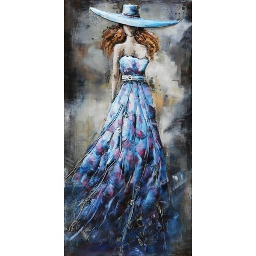 Eliassen 3D painting metal 70x140x7cm Lady Blue