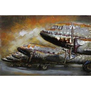 Eliassen Schilderij metaal 3d 80x120cm Rij vliegtuigen