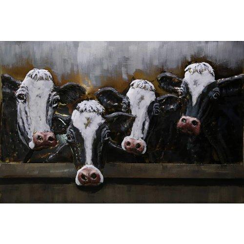 Eliassen Schilderij metaal 3d 80x120cm Koeien 4