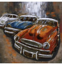 3D schilderij 3 auto's 100x100cm