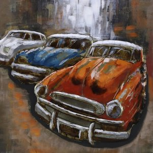 3D painting 3 cars 100x100cm