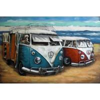 3d schilderij metaal VW bussen  80x120cm