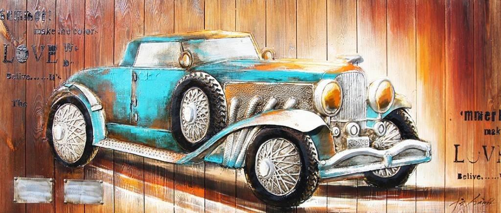Eliassen 3d schilderij hout 60x155cm Auto blauw