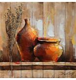Eliassen 3d schilderij hout 64x64cm Pot en vaas